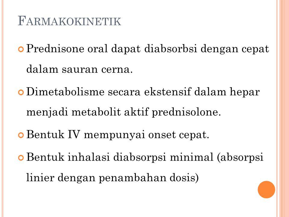 Farmakokinetik Prednisone oral dapat diabsorbsi dengan cepat dalam sauran cerna.