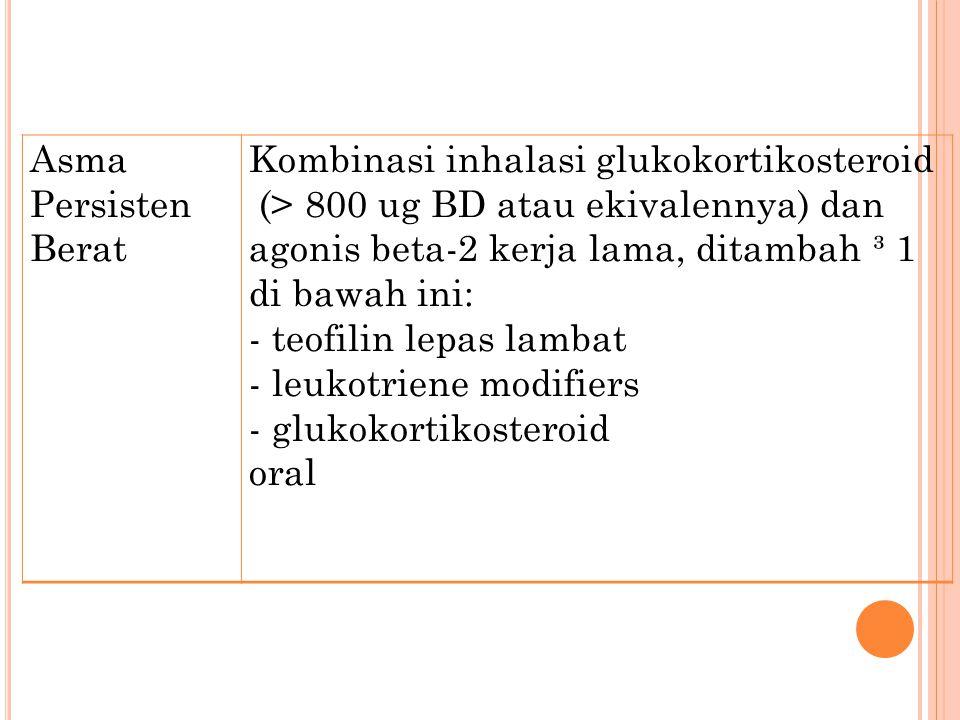 Asma Persisten Berat Kombinasi inhalasi glukokortikosteroid.