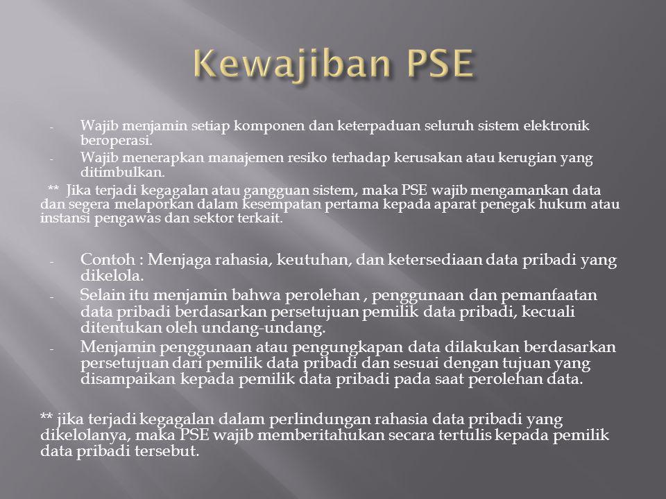 Kewajiban PSE Wajib menjamin setiap komponen dan keterpaduan seluruh sistem elektronik beroperasi.