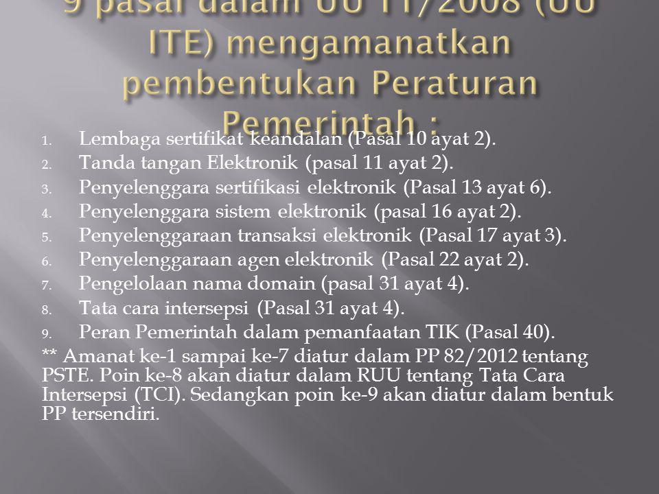 9 pasal dalam UU 11/2008 (UU ITE) mengamanatkan pembentukan Peraturan Pemerintah :