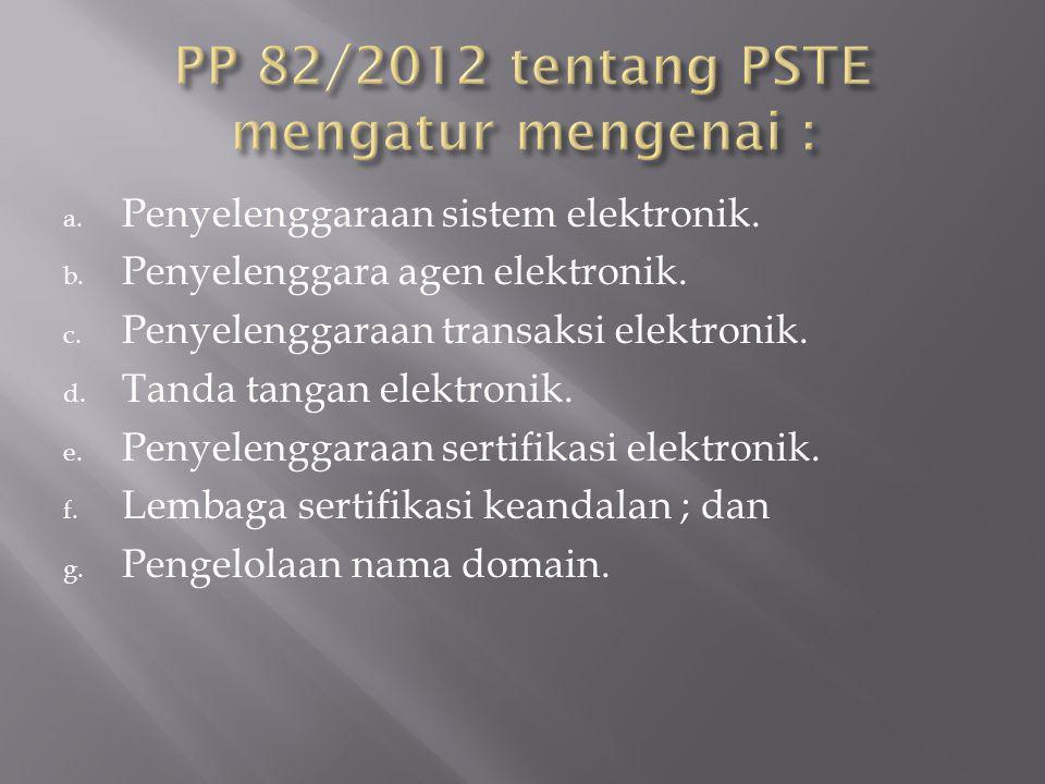 PP 82/2012 tentang PSTE mengatur mengenai :