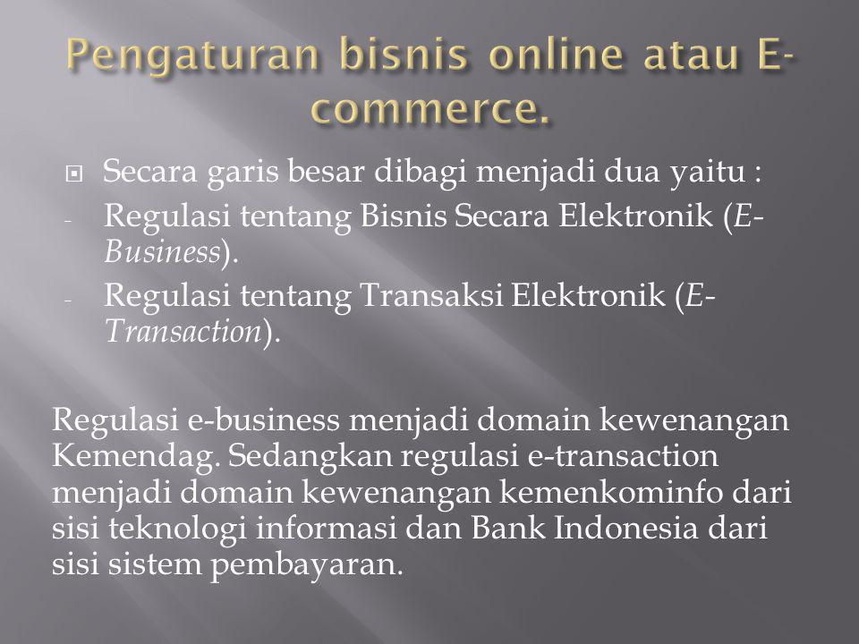 Pengaturan bisnis online atau E-commerce.