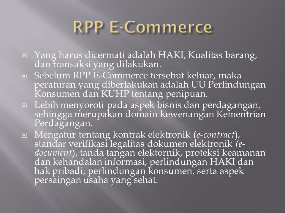 RPP E-Commerce Yang harus dicermati adalah HAKI, Kualitas barang, dan transaksi yang dilakukan.