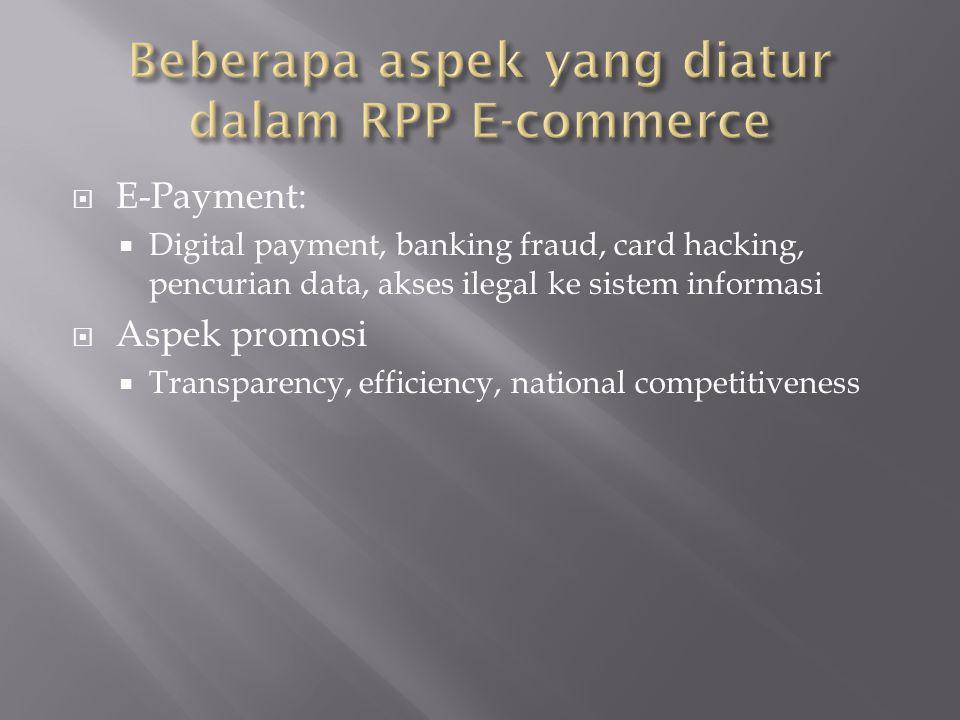 Beberapa aspek yang diatur dalam RPP E-commerce