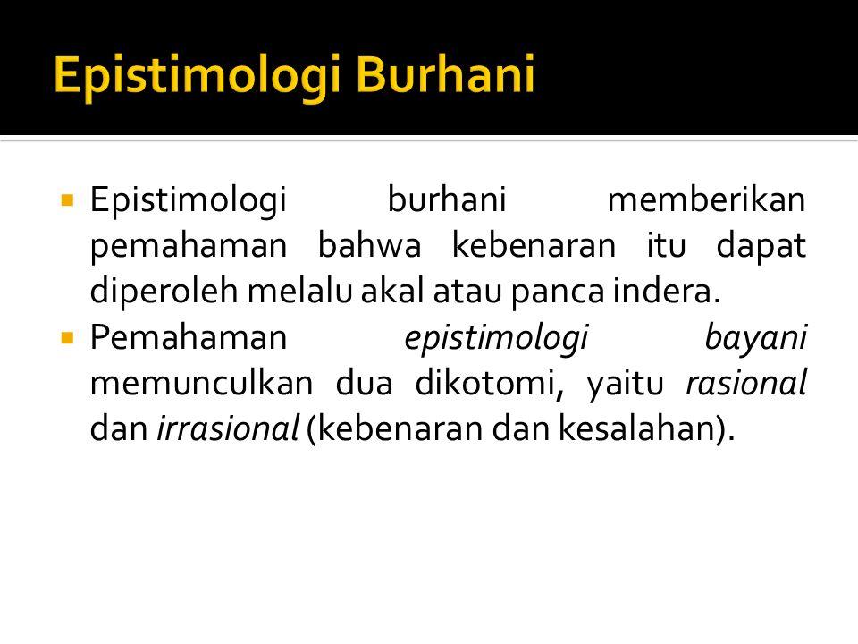 Epistimologi Burhani Epistimologi burhani memberikan pemahaman bahwa kebenaran itu dapat diperoleh melalu akal atau panca indera.