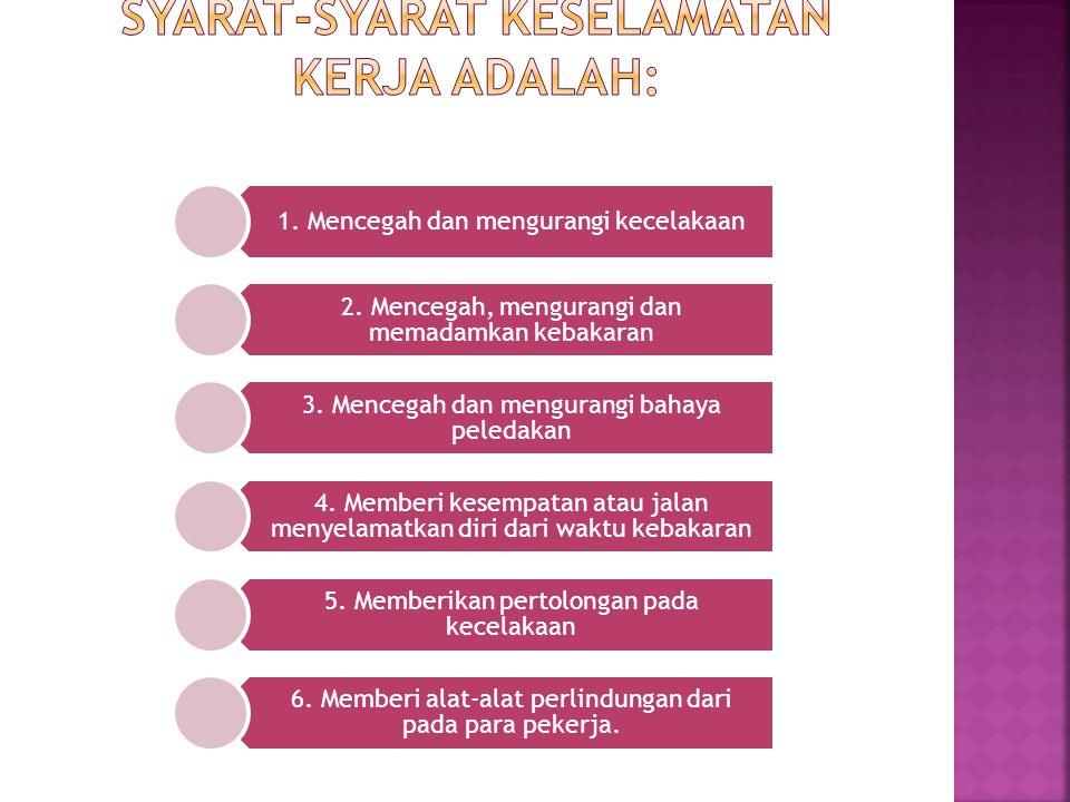 Syarat-syarat keselamatan kerja adalah: