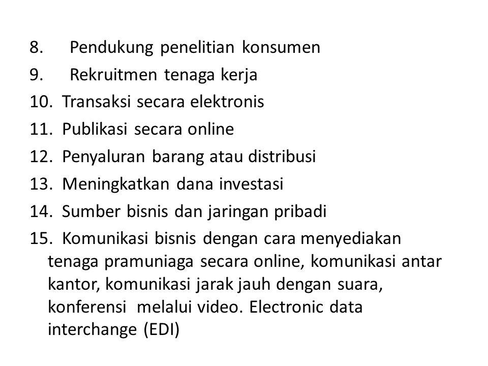 8. Pendukung penelitian konsumen