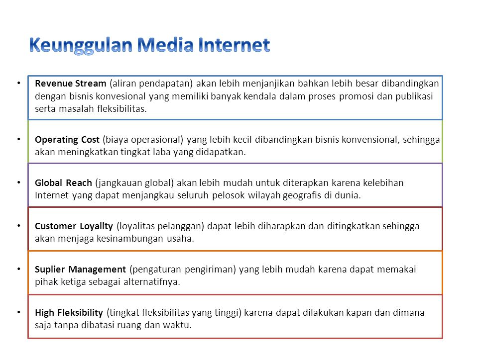 Keunggulan Media Internet