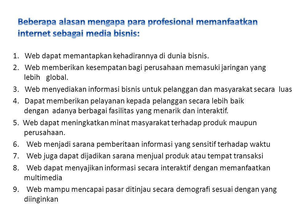 Beberapa alasan mengapa para profesional memanfaatkan internet sebagai media bisnis: