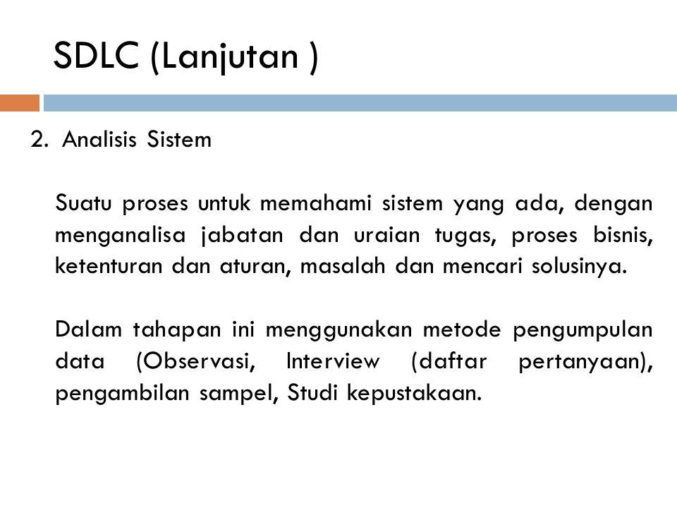 SDLC (Lanjutan ) Analisis Sistem
