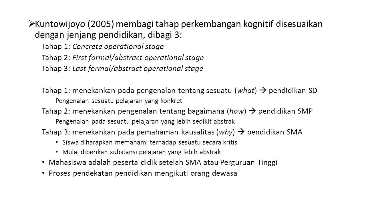 Kuntowijoyo (2005) membagi tahap perkembangan kognitif disesuaikan dengan jenjang pendidikan, dibagi 3: