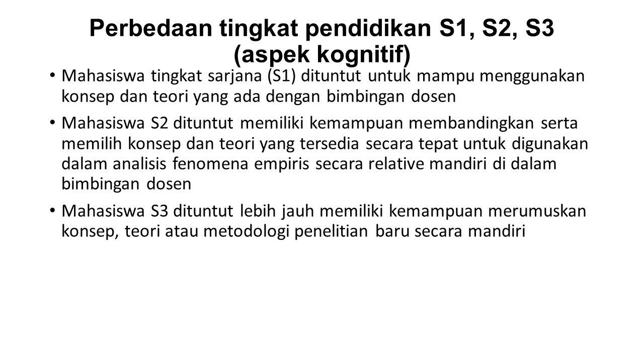 Perbedaan tingkat pendidikan S1, S2, S3 (aspek kognitif)