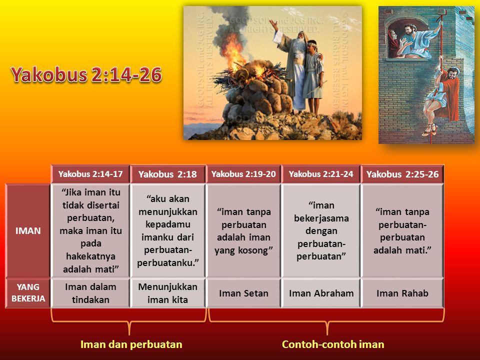 Yakobus 2:14-26 Iman dan perbuatan Contoh-contoh iman Yakobus 2:18