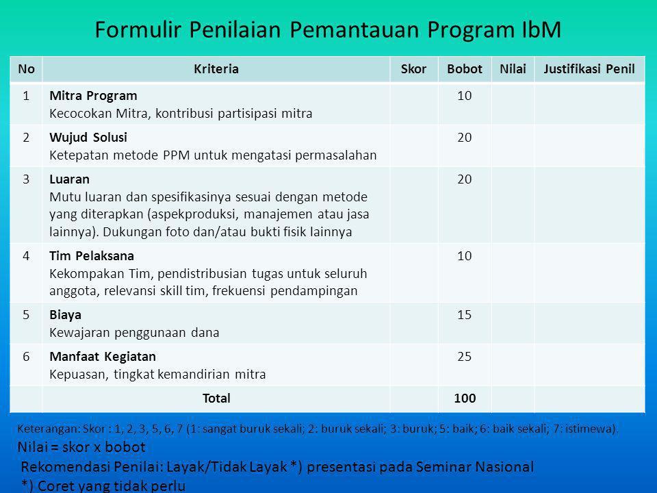 Formulir Penilaian Pemantauan Program IbM