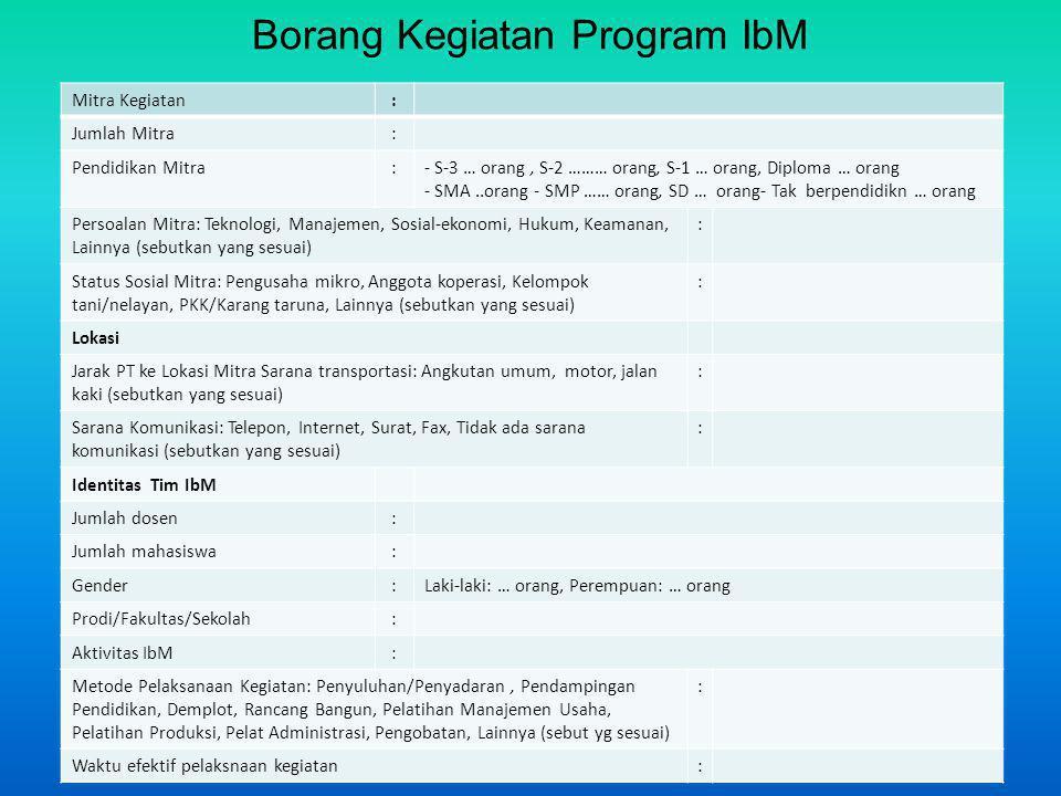 Borang Kegiatan Program IbM