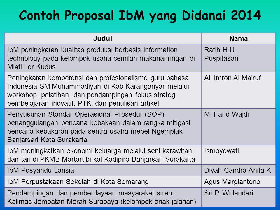 Contoh Proposal IbM yang Didanai 2014