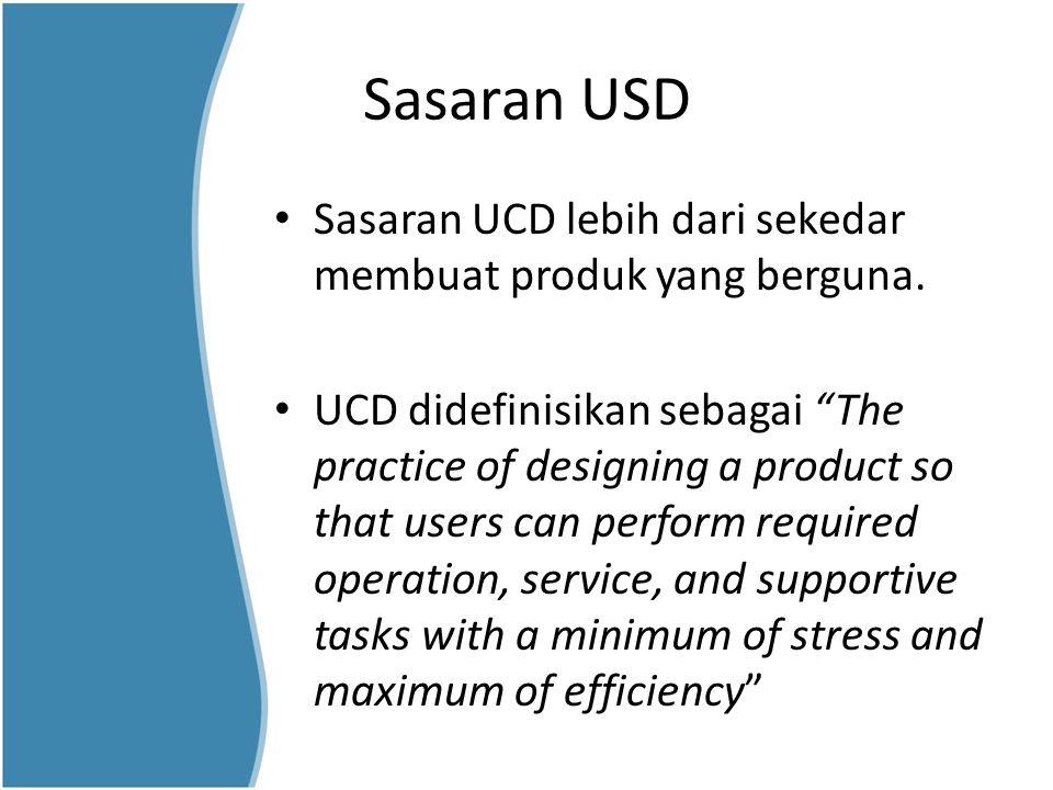Sasaran USD Sasaran UCD lebih dari sekedar membuat produk yang berguna.