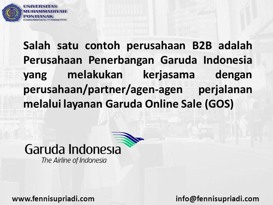 Salah satu contoh perusahaan B2B adalah Perusahaan Penerbangan Garuda Indonesia yang melakukan kerjasama dengan perusahaan/partner/agen-agen perjalanan melalui layanan Garuda Online Sale (GOS)