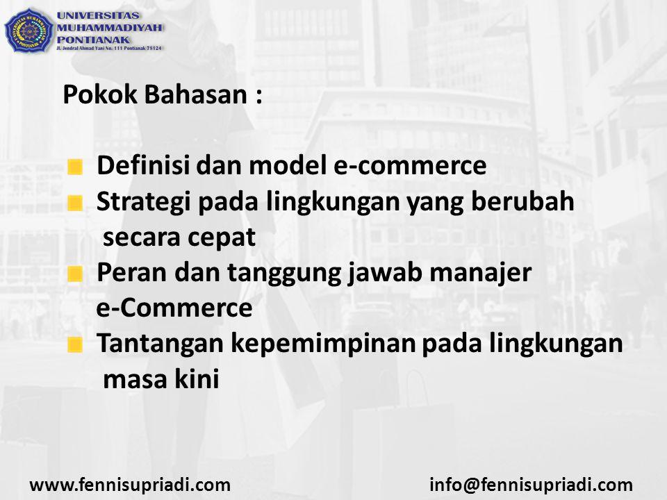Definisi dan model e-commerce Strategi pada lingkungan yang berubah