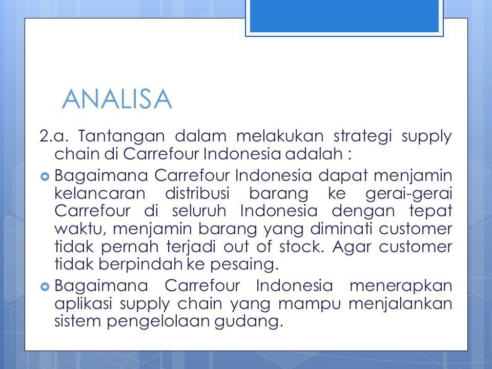 ANALISA 2.a. Tantangan dalam melakukan strategi supply chain di Carrefour Indonesia adalah :