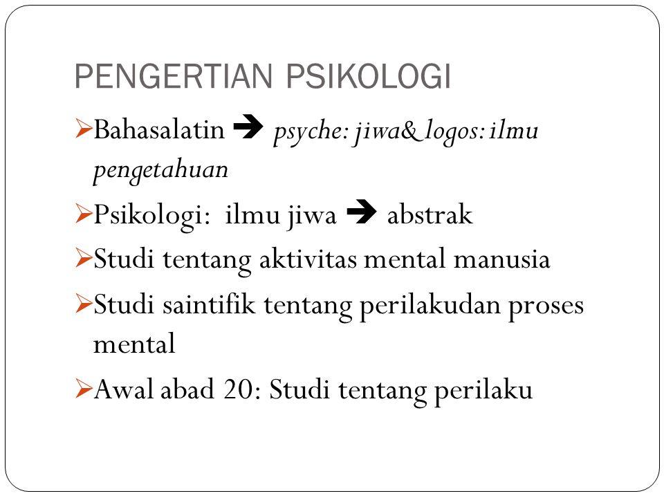 PENGERTIAN PSIKOLOGI Bahasalatin  psyche: jiwa& logos: ilmu pengetahuan. Psikologi: ilmu jiwa  abstrak.