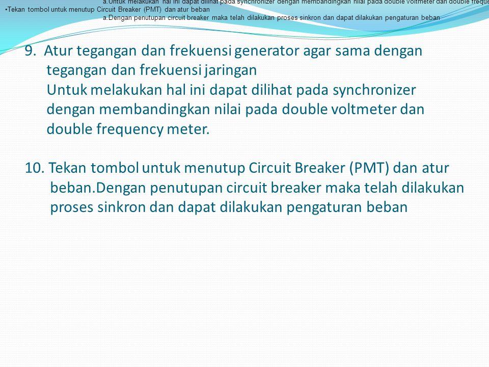 Atur tegangan dan frekuensi generator agar sama dengan tegangan dan frekuensi jaringan