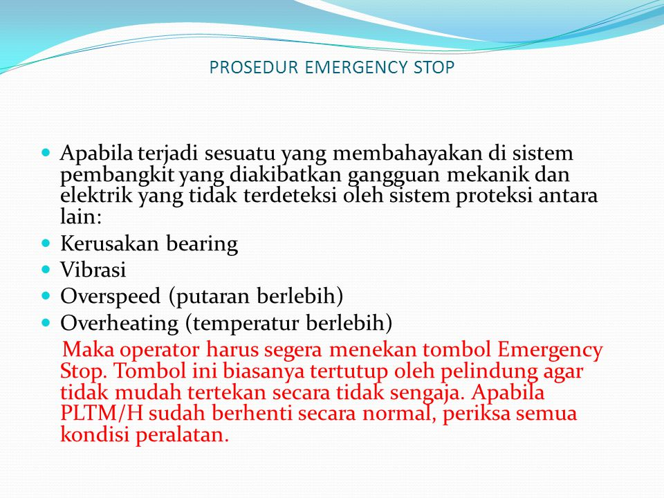PROSEDUR EMERGENCY STOP
