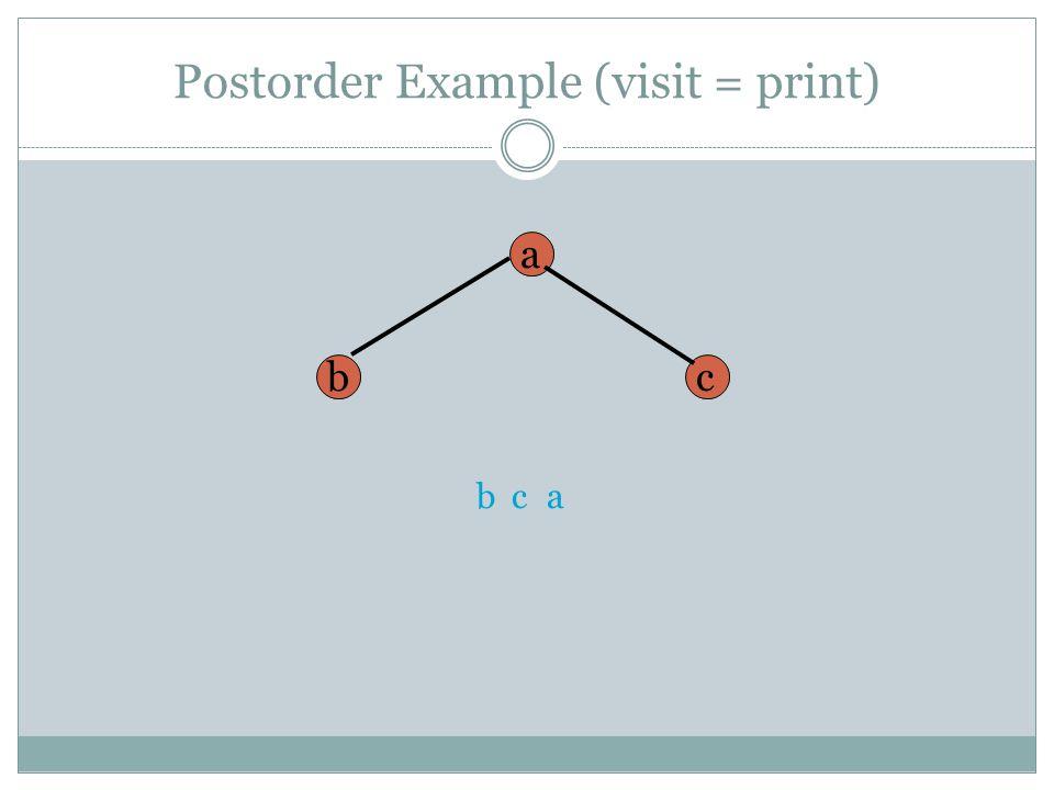 Postorder Example (visit = print)