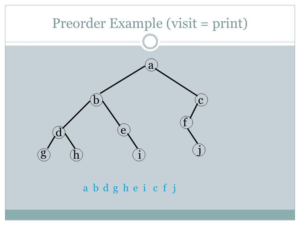 Preorder Example (visit = print)