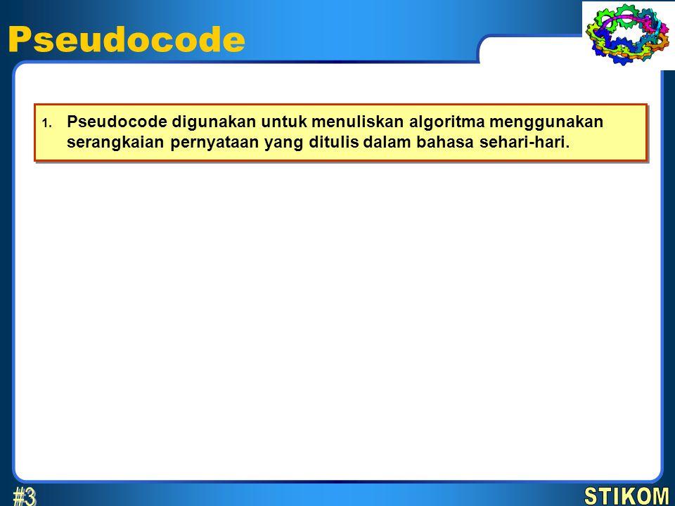 Pseudocode 6 April 2017. Pseudocode digunakan untuk menuliskan algoritma menggunakan serangkaian pernyataan yang ditulis dalam bahasa sehari-hari.