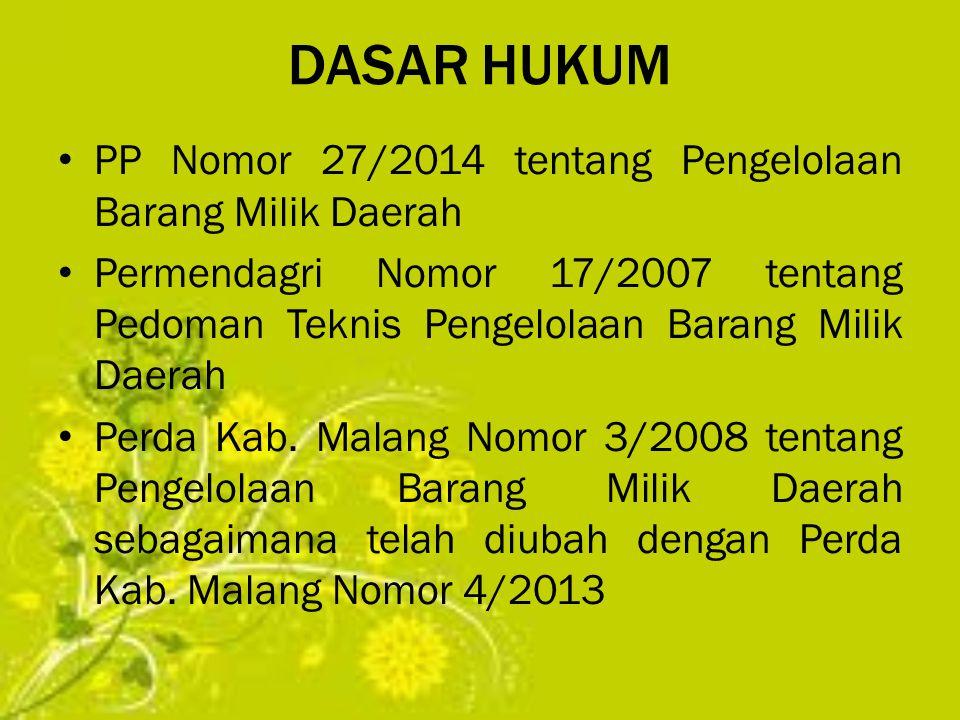 DASAR HUKUM PP Nomor 27/2014 tentang Pengelolaan Barang Milik Daerah