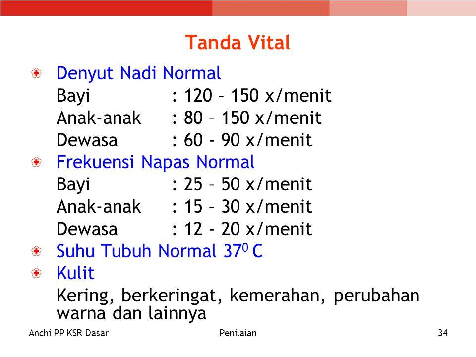Tanda Vital Denyut Nadi Normal Bayi : 120 – 150 x/menit