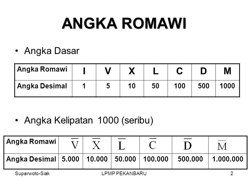 ANGKA ROMAWI Angka Dasar Angka Kelipatan 1000 (seribu) I V X L C D M