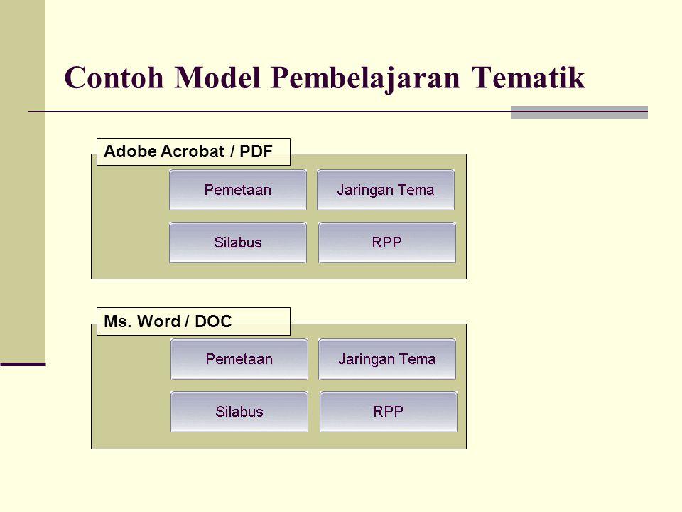 Contoh Model Pembelajaran Tematik