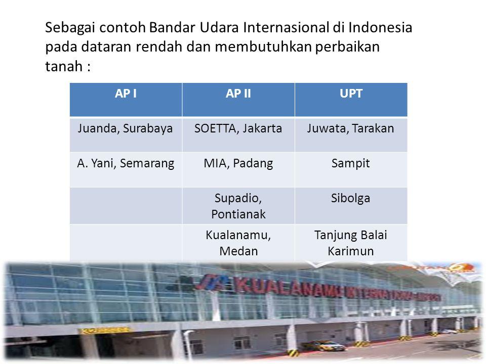 Sebagai contoh Bandar Udara Internasional di Indonesia pada dataran rendah dan membutuhkan perbaikan tanah :