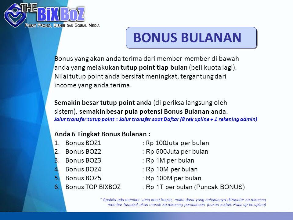 BONUS BULANAN Bonus yang akan anda terima dari member-member di bawah