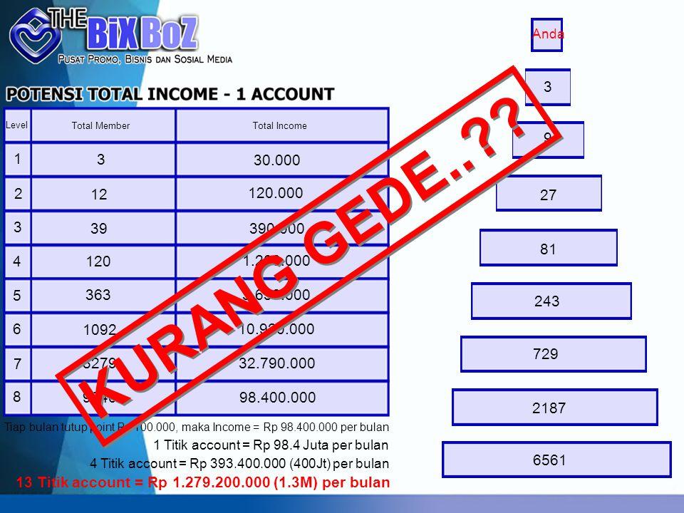 Anda 3. Level. Total Member. Total Income. 9. 1. 3. 30.000. 2. 12. 120.000. 27. 3. KURANG GEDE..