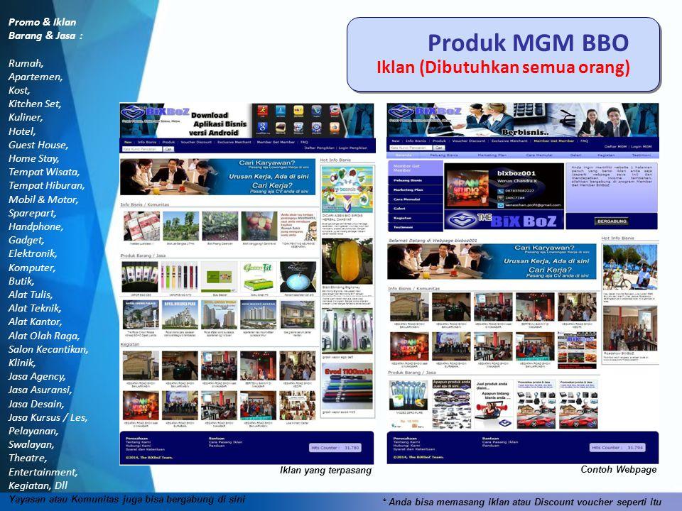 Produk MGM BBO Iklan (Dibutuhkan semua orang) Promo & Iklan