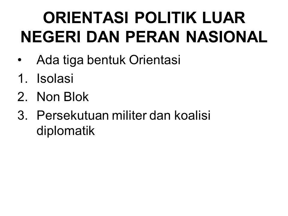 ORIENTASI POLITIK LUAR NEGERI DAN PERAN NASIONAL