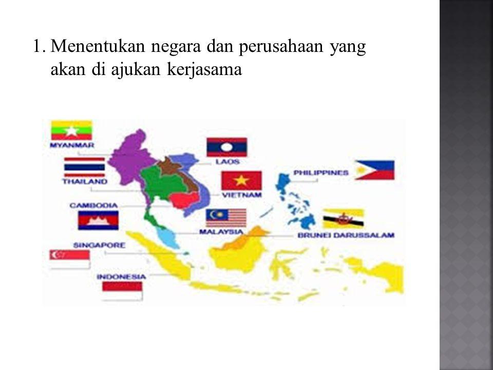 Menentukan negara dan perusahaan yang akan di ajukan kerjasama
