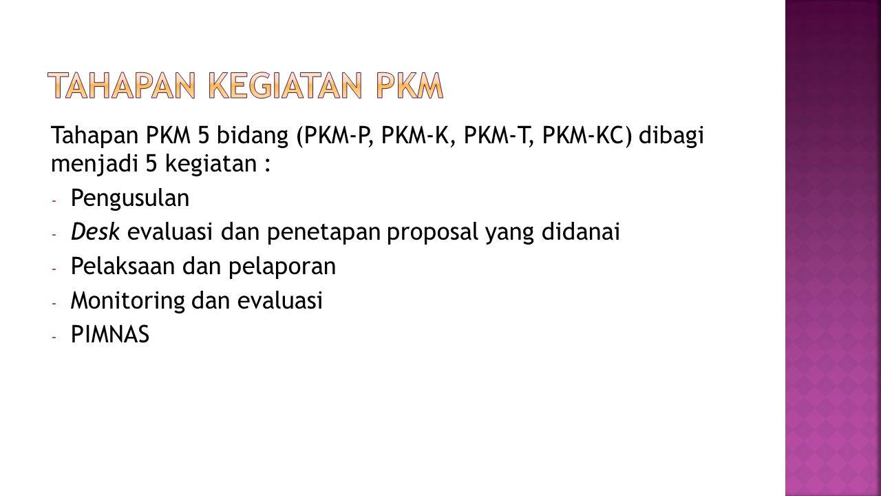 TAHAPAN KEGIATAN PKM Tahapan PKM 5 bidang (PKM-P, PKM-K, PKM-T, PKM-KC) dibagi menjadi 5 kegiatan :
