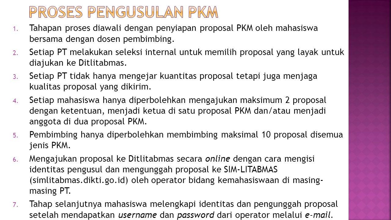 PROSES PENGUSULAN PKM Tahapan proses diawali dengan penyiapan proposal PKM oleh mahasiswa bersama dengan dosen pembimbing.
