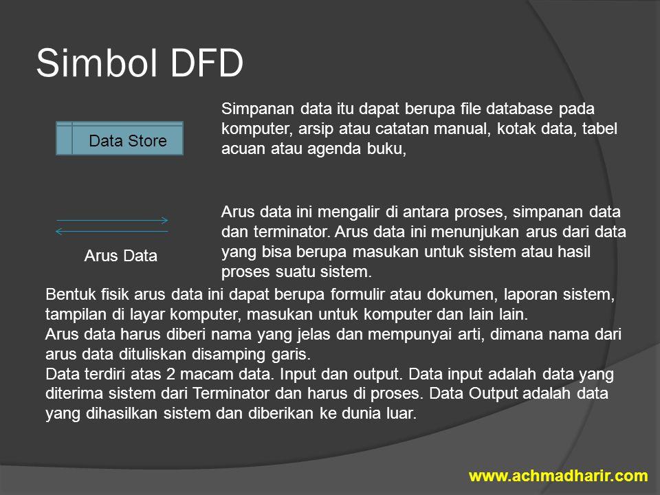 Simbol DFD Simpanan data itu dapat berupa file database pada komputer, arsip atau catatan manual, kotak data, tabel acuan atau agenda buku,