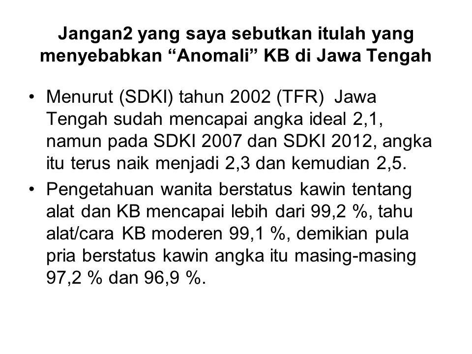 Jangan2 yang saya sebutkan itulah yang menyebabkan Anomali KB di Jawa Tengah