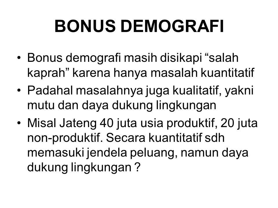 BONUS DEMOGRAFI Bonus demografi masih disikapi salah kaprah karena hanya masalah kuantitatif.