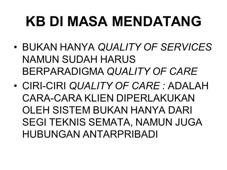 KB DI MASA MENDATANG BUKAN HANYA QUALITY OF SERVICES NAMUN SUDAH HARUS BERPARADIGMA QUALITY OF CARE.