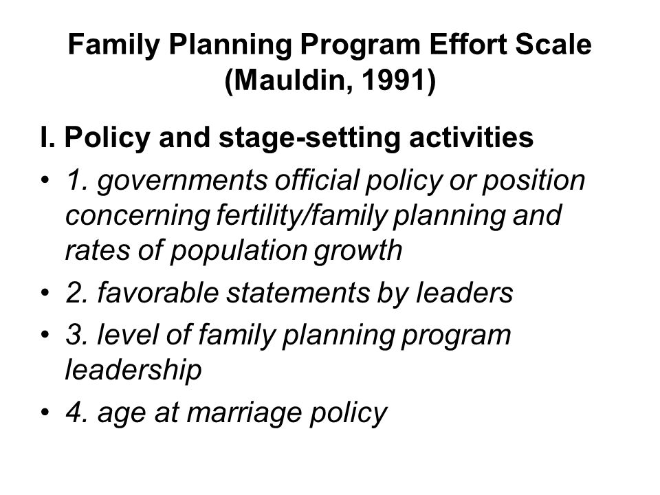 Family Planning Program Effort Scale (Mauldin, 1991)