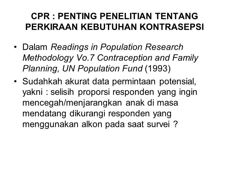 CPR : PENTING PENELITIAN TENTANG PERKIRAAN KEBUTUHAN KONTRASEPSI