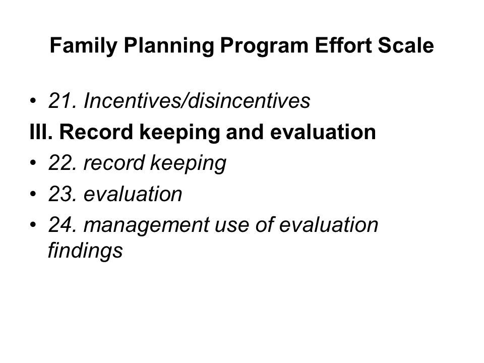 Family Planning Program Effort Scale