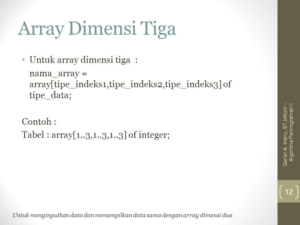 Array Dimensi Tiga Untuk array dimensi tiga :